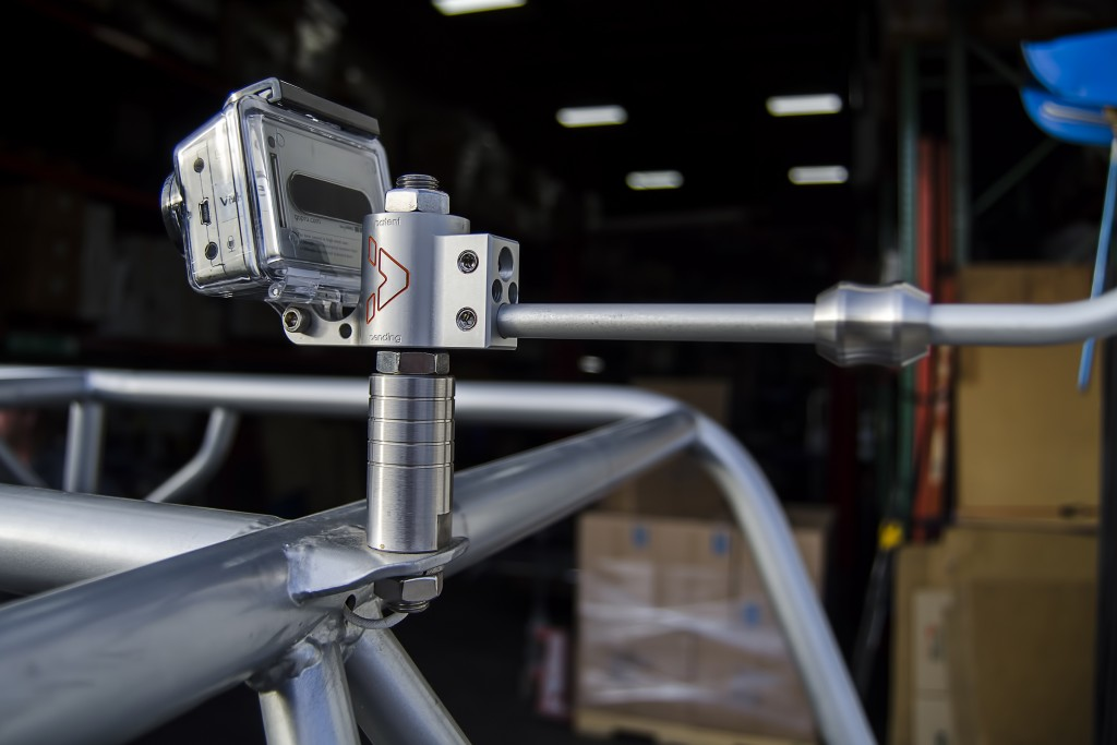 VectorMount GO with single GoPro camera mounted on a welded tap
