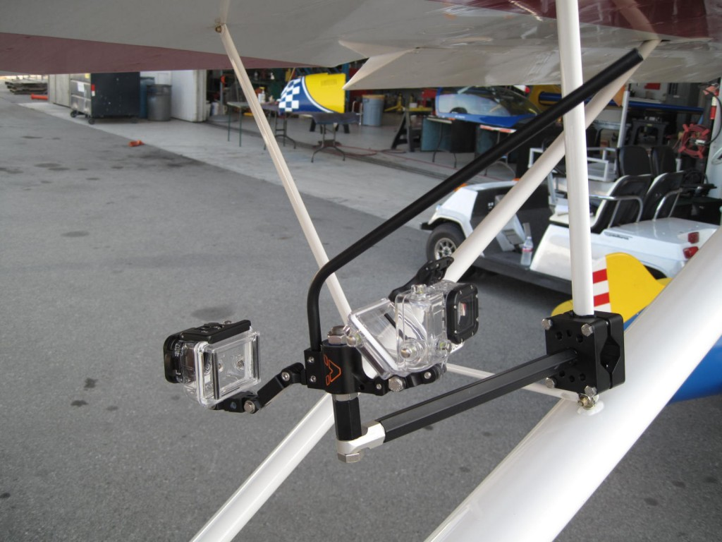 VectorMount GO 2X mounted with a Pro Clamp on an airplane wing